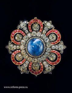 The brooch belonged to The Romanovs since the 18th century - gold, silver, diamonds, and spinels. The biggest spinel was put into He Grand Imperial Crown of Russia. Kept by the Diamond Fund, The Kremlin, Moscow https://www.pinterest.com/pin/269160515206525659/