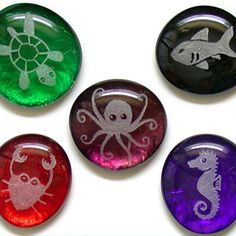 sandblasted glass marble magnets by Bread and Badger