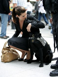 Sandra Bullock - Ok, so this picture isn't black & white, but this just makes me love her more.. dog person. <3