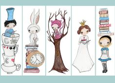 Alice In Wonderland Bookmarks from the poppy tree