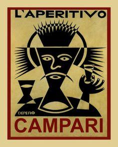 Vintage Italian Posters ~ ~ L'Aperitivo Campari by Fortunato Depero He was an Italian futurist painter, writer, sculptor and graphic designer. Vintage Italian Posters, Vintage Advertising Posters, Art Vintage, Vintage Advertisements, Vintage Ads, Vintage Graphic, Old Posters, Art Deco Posters, Poster Prints