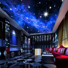 Blue Night Sky Stars Wall or Ceiling Wallpaper Custom Mural is part of Game room design - night sky wallpaper for home or commerce KTV bar evening sky stars ceiling wall paper Blue ceiling mural with bright stars Free worldwide shipping Hotel Ceiling, Sky Ceiling, Ceiling Murals, Bedroom Ceiling, Ceiling Design, Living Room Bedroom, Living Room Decor, Mural Wall, Ceiling Lighting