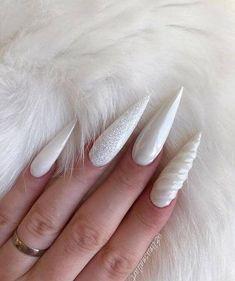 White Color Best For Elegant Stiletto Nails; cute Stiletto… White Color Best For Elegant Stiletto Nails; Love Nails, Fun Nails, White Stiletto Nails, Unicorn Nails Designs, American Nails, Nails Polish, Nagel Gel, Trendy Nails, Halloween Nails