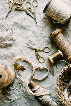 Twine, ribbon, vintage spools and crane scissors, a few of my favourite things Costura Diy, Over The Garden Wall, Ivy House, Prop Styling, Still Life Photography, Jewelry Photography, Sewing Notions, Haberdashery, Vintage Sewing