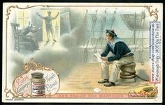 A Young Sailor's Dreams NICE c1900 Chromo Card