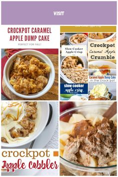 Crockpot Caramel Apple Dump Cake Recipe is an easy slow cooker that is perfect for the holidays! It has 4 ingredients including butter and cake mix! What is better than that combo? Top it with whipped cream or ice cream! Families give it the stamp of approval! #crockpot #crockpotrecipes #slowcooker #slowcookerrecipes #dumpcake #cake Apple Desserts Crock Pot