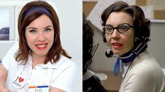 "I never realized this. - "" Stephanie Courtney as Flo in a Progressive Insurance commercial and as Marge on Season 1 of ""Mad Men. Flo Progressive Insurance, Flo Costume, The Heartbreak Kid, Like Flo, Mad Tv, Everybody Love Raymond, Popular Halloween Costumes"