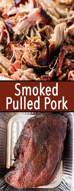 Smoked Pulled Pork: You don't have to be a pit master to make mouthwatering pulled pork at home. Smoked pork shoulder gives you savory, juicy, flavorful meat you can use in sandwiches or as the star of a delicious barbecue plate. This is the best pulled pork recipe around! Traeger Recipes, Grilling Recipes, Pork Recipes, Crockpot Recipes, Smoker Recipes, Crockpot Meat, Vegetarian Grilling, Healthy Grilling, Barbecue Recipes