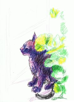 Daily Sketch Reprise: Mimi Among the Geraniums