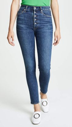 Citizens of Humanity Olivia Exposed Fly High Rise Slim Ankle Jeans in Zinc, 31 Citizens Of Humanity, High Rise Jeans, Ankle Jeans, Cut And Style, Stretch Jeans, Distressed Jeans, Skinny Jeans, Slim, Cotton