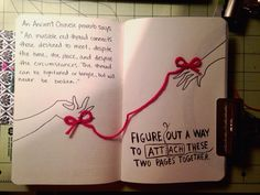 """Wreck This Journal - """"Figure out a way to attach these two pages"""" - Red String of Fate connects many"""