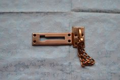 Vintage Solid Brass Door Chain Slide Lock Privacy Latch Security IVES #43234 #IVES