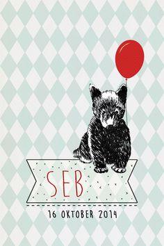 Geboortekaartje jongen - Seb - lief beertje met ballon - Pimpelpluis - https://www.facebook.com/pages/Pimpelpluis/188675421305550?ref=hl (# beer - vintage - retro - lief - schattig - dieren - origineel)