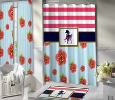 Equestrian Shower Curtain in Navy Blue, Pink, and Aqua Floral and Striped Shower Curtain with Horse.