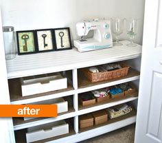 An old beat up drawer-less dresser becomes craft shelving after a crisp new coat of white paint and leftover beadboard was used to cover a top that wasn't salvageable. In place of drawers, boards were cut to size to and covered in burlap to create storage cubbies.