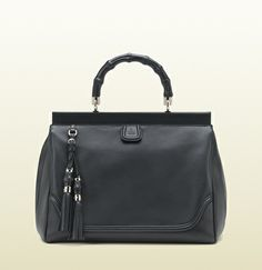 bold bamboo black leather top handle bag
