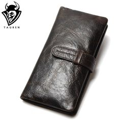 Luxury Brand High Quality 100% Top Genuine Oil Wax Cowhide Leather Men Long Bifold Wallet Purse Vintage Designer Male Carteira <3 Details on product can be viewed by clicking the VISIT button