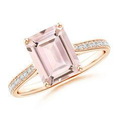 Angara Emerald-Cut Morganite Cocktail Ring with Diamond Accents w3xcVcAzy