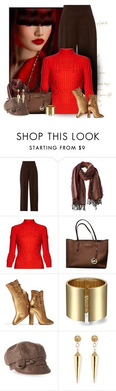 """Red Sweater & Metallic Boots"" by majezy ❤ liked on Polyvore featuring 3.1 Phillip Lim, prAna, Mary Katrantzou, Michael Kors, Gianvito Rossi, Betmar and Sydney Evan"