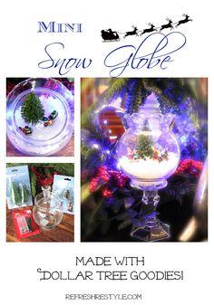Dollar Tree Snow Globe Easy And Budget friendly Christmas decor.