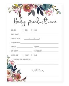 Floral watercolor baby predictions game printable by LittleSizzle Baby Shower Advice, Baby Shower Bingo, Baby Shower Activities, Baby Shower Cards, Baby Shower Printables, Baby Shower Themes, Shower Ideas, Shower Games, Baby Shower Flowers
