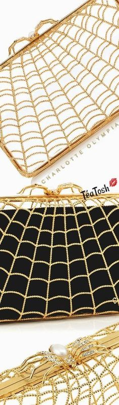 ❈Téa Tosh❈ Charlotte Olympia, web design and topped with a large crystal and pearl embellished spider clasp gold metal clutch box Beautiful Gowns, Beautiful Shoes, Spiders And Snakes, Micah Gianneli, Large Crystals, Old Hollywood Glamour, Happy Fall, Luxury Shoes, Charlotte Olympia