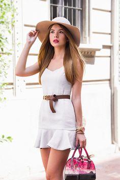 Yigelila White Chic Sleeveless Ruffle Hem Mermaid Dress