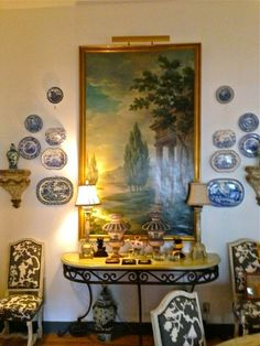 via LissyParker blog: Charles Faudree Estate sale | More blue and white in the dinning room—love it all