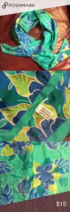 """Green silk scarf Bright green silk scarf with blue flower pattern. 100% silk. Has a small stain in corner (picture 4). 34""""x34"""" square. Accessories Scarves & Wraps"""