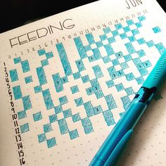 - slowly getting back into some level of planning and organisation this month. This is a feeding tracker I started to get an idea of how often my little one feeds over a 24 hour period. The time is across the top, the dates to the left and I colour the square when she feeds. Sometimes I'll mark a '1' in the box if she only takes from one breast. I've also started a super modified version of my bullet journal this month so I'll post that soon. Hope everyone is having a great week…