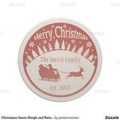 Christmas Santa Sleigh and Reindeer Coaster