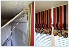 Mounting Roman Shades On The Wall ... instead of doing inside mounts, she used L brackets to mount the shades outside of the wood blinds ............... #DIY #shades #romanshades #Lbracket #mounting #curtains #howto #tips #decor #crafts