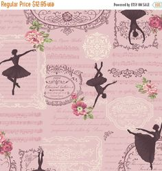 Clearance SALE Prima Ballerina, Sports , Cotton Fabric by Quilt Gate Pink Fast Shipping, Cotton Quilts, Cotton Fabric, Classical Opera, Pretty Ballerinas, Flower Show, Decorative Pillow Covers, Fabric Flowers, Vintage World Maps, Sewing Projects