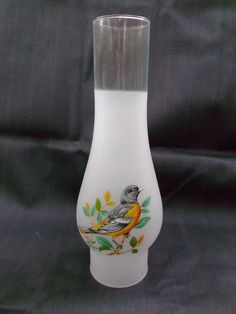 Frosted Glass Oil Lamp Chimney Shade with Baltimore Oriole Decal  offered by #rubylane shop Saltymaggie's Treasures.