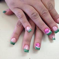 Watermelon on acrylic nail. | Yelp
