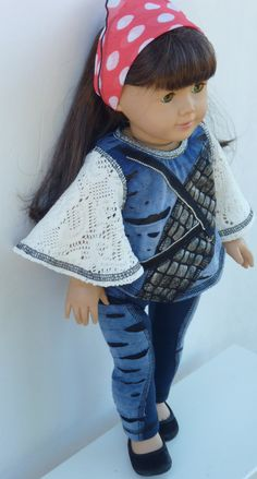 """American Girl Doll Clothes - The Bohemian Girl Collection - The Sixth Look,  for American Girl Doll and 18"""" Vinyl Doll.. $22.00, via Etsy."""