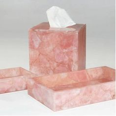 Mike and Ally Mike & Ally Rose Quartz Vanity Tray - ShopStyle Bath Accessories Tissue Box Covers, Tissue Boxes, Pink Quartz, Rose Quartz, Ally Rose, Baths Interior, Vanity Tray, Crystal Gifts, Covered Boxes
