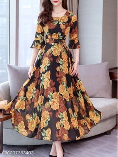 Round Neck Floral Printed Bell Sleeve Maxi Dress , Buy Affordable And Fashionable Women's clothing Online. Buy Shoes, Bags, Dresses Etc. Polka Dot Maxi Dresses, Cheap Maxi Dresses, Floral Maxi Dress, Summer Dresses, Dresses Dresses, Sleeve Dresses, Floral Print Dresses, Floral Outfits, Floral Frocks