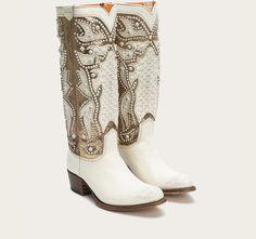 Off White Metallic Deborah Frye Boots