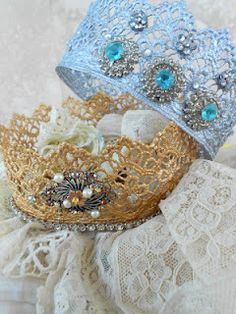 Lace crowns, made in the microwave with fabric stiffener
