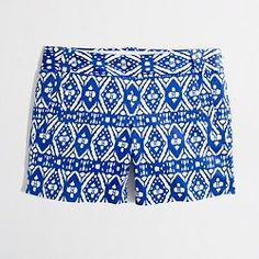 J.Crew blue and white printed shorts.