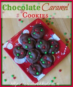 Chocolate Caramel Christmas Cookies with a FREE Printable #Christmas #recipes