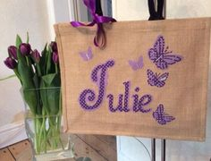 #Personalised large jute shopping bag name ladies friend #teacher #easter gift, View more on the LINK: http://www.zeppy.io/product/gb/2/181696598471/