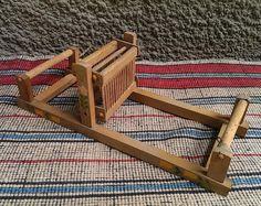 Mesa de madera Vintage telar, antiguo búlgaro, tejer telar, telar de tejer de juguete, arte decoración, rústico Home Decor