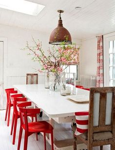 Mesa Redonda  For The Home  Pinterest  Room Interiors And Walls Cool Dining Room Chairs Red Inspiration Design