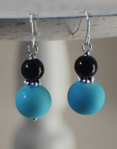 Black and Blue Dangle Beaded Earrings by ThatGirlsDesigns on Etsy, $8.00