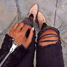 Ankle booties + distressed skinnies.