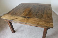 55inch square wood farmhouse table in all dark walnut with end caps