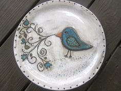 Whimsical Blue Bird Plate by ShoeHouseStudio on Etsy, $30.00