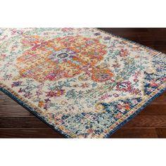 orange and blue area rug